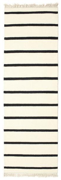 Dorri Stripe - White/Negru Covor 80X250 Modern Lucrate De Mână Bej-Crem/Bej (Lână, India)