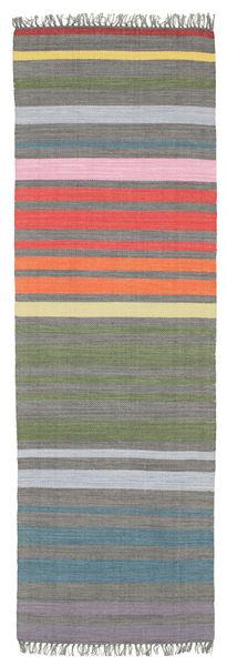 Rainbow Stripe - Gri Covor 80X250 Modern Lucrate De Mână Gri Închis/Gri Deschis (Bumbac, India)