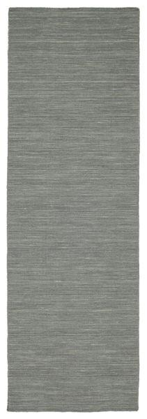 Chilim Loom - Gri Închis Covor 80X250 Modern Lucrate De Mână Gri Deschis/Verde Închis (Lână, India)