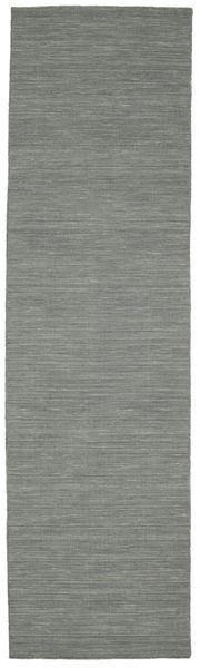 Chilim Loom - Gri Închis Covor 80X300 Modern Lucrate De Mână Gri Deschis/Verde Închis (Lână, India)
