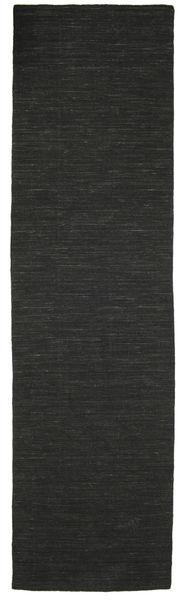 Chilim Loom - Negru Covor 80X300 Modern Lucrate De Mână Negru (Lână, India)