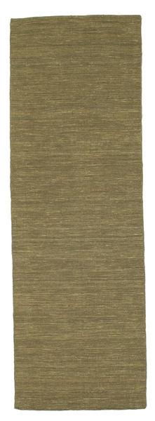 Chilim Loom - Oliv Covor 80X250 Modern Lucrate De Mână Verde Oliv (Lână, India)