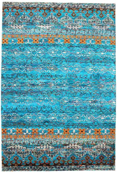 Quito - Turquoise Covor 190X290 Modern Lucrat Manual Albastru Turcoaz/Albastru (Mătase, India)