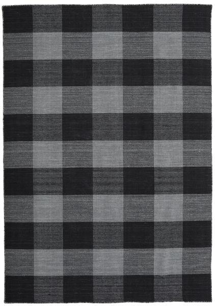 Check Kilim Covor 160X230 Modern Lucrate De Mână Negru/Violet Deschis (Lână, India)