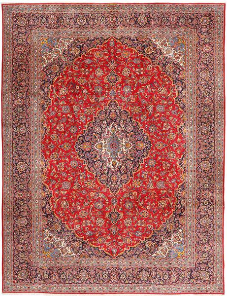 Kashan Covor 315X420 Orientale Lucrat Manual Roșu-Închis/Ruginiu Mare (Lână, Persia/Iran)