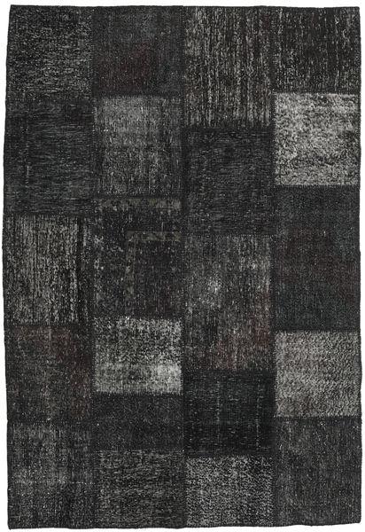 Patchwork Covor 158X232 Modern Lucrat Manual Negru/Gri Închis (Lână, Turcia)