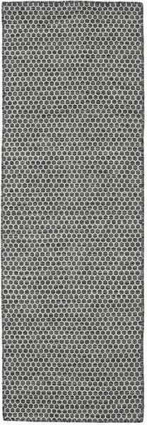 Chilim Honey Comb - Negru/Gri Covor 80X240 Modern Lucrate De Mână Gri Deschis/Gri Închis (Lână, India)