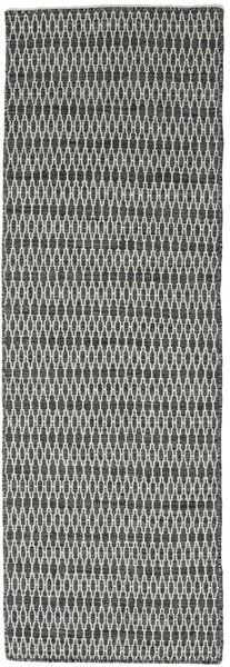 Chilim Long Stitch - Negru/Gri Covor 80X240 Modern Lucrate De Mână Gri Închis/Gri Deschis (Lână, India)