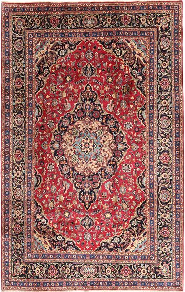 Mashhad Covor 202X310 Orientale Lucrat Manual Roșu-Închis/Maro Închis (Lână, Persia/Iran)