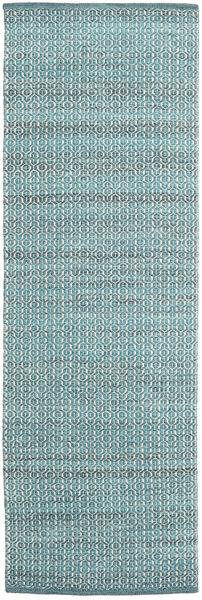 Alva - Turquoise/White Covor 80X250 Modern Lucrate De Mână Albastru Deschis/Întuneric Turquoise (Lână, India)