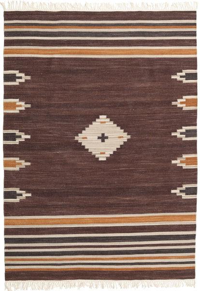 Tribal - Maro Covor 160X230 Modern Lucrate De Mână Maro Închis/Roșu-Închis (Lână, India)