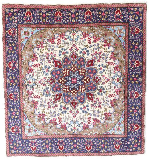Kerman Covor 192X206 Orientale Lucrat Manual Pătrat Mov Închis/Bej (Lână, Persia/Iran)