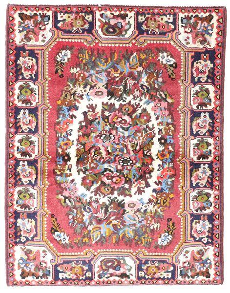 Bakthiari Covor 109X142 Orientale Lucrat Manual Bej/Roz Deschis (Lână, Persia/Iran)
