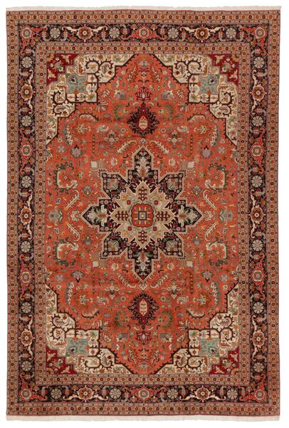 Tabriz 50 Raj Covor 203X304 Orientale Lucrat Manual Maro Închis/Roşu (Lână/Mătase, Persia/Iran)