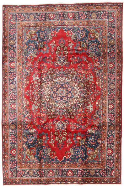 Mashhad Covor 196X294 Orientale Lucrat Manual Roșu-Închis/Gri Închis (Lână, Persia/Iran)