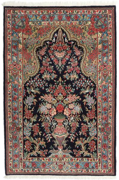 Qom Kork/Mătase Covor 104X157 Orientale Lucrat Manual Albastru Închis/Roșu-Închis (Lână/Mătase, Persia/Iran)