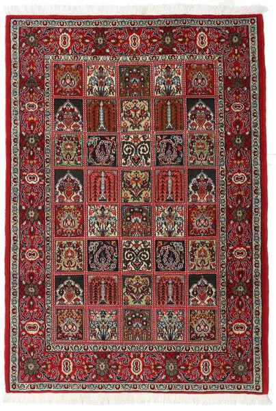 Qom Kork/Mătase Covor 110X157 Orientale Lucrat Manual Maro Închis/Roșu-Închis (Lână/Mătase, Persia/Iran)