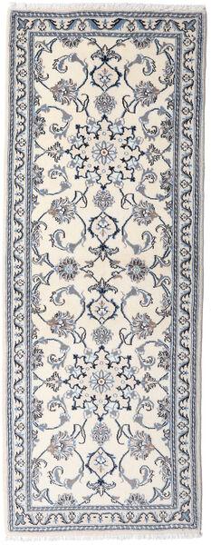 Nain Covor 76X201 Orientale Lucrat Manual Bej/Gri Deschis (Lână, Persia/Iran)