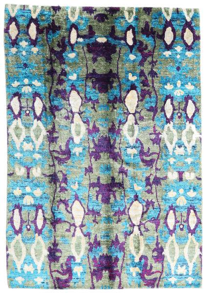 Sari Pură Mătase Covor 168X246 Modern Lucrat Manual Bej/Gri Închis (Mătase, India)
