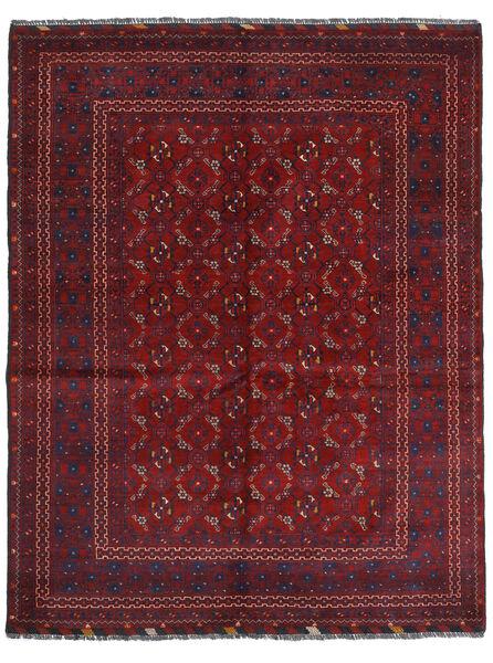 Kunduz Covor 161X208 Orientale Lucrat Manual Roșu-Închis (Lână, Afganistan)