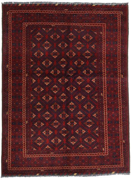 Kunduz Covor 145X195 Orientale Lucrat Manual Roșu-Închis (Lână, Afganistan)