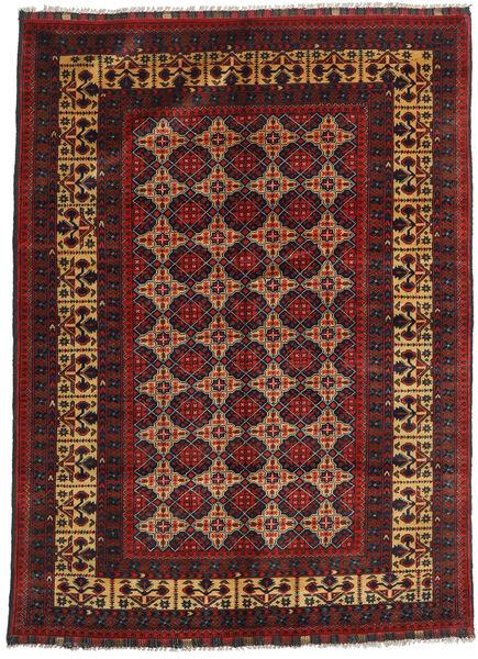 Kunduz Covor 142X195 Orientale Lucrat Manual Roșu-Închis/Negru (Lână, Afganistan)