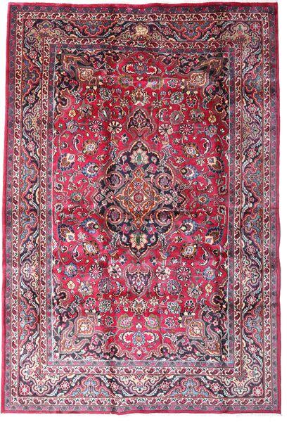 Mashhad Covor 198X290 Orientale Lucrat Manual Mov Închis/Roz Deschis (Lână, Persia/Iran)