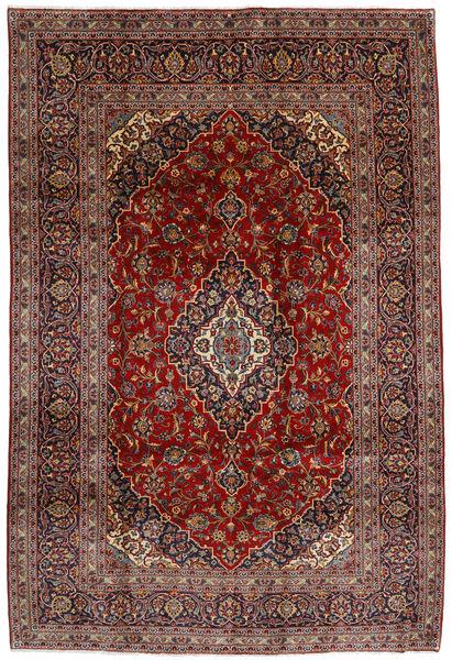 Kashan Covor 210X312 Orientale Lucrat Manual Roșu-Închis/Gri Închis (Lână, Persia/Iran)