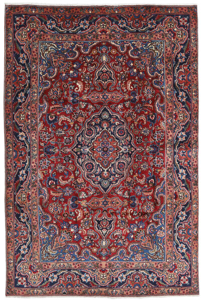 Mashhad Covor 196X290 Orientale Lucrat Manual Roșu-Închis/Gri Închis (Lână, Persia/Iran)