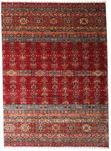 Shabargan Covor 213X293 Modern Lucrat Manual Roșu-Închis (Lână, Afganistan)