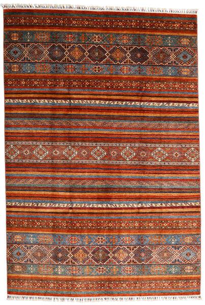 Shabargan Covor 202X297 Modern Lucrat Manual Roșu-Închis/Ruginiu (Lână, Afganistan)