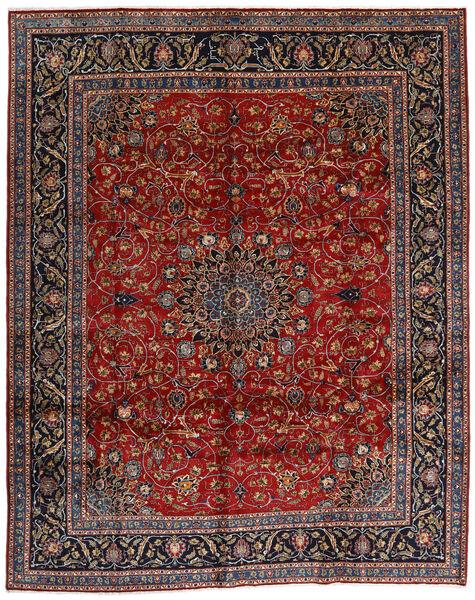 Mashhad Covor 304X378 Orientale Lucrat Manual Roșu-Închis/Gri Închis Mare (Lână, Persia/Iran)