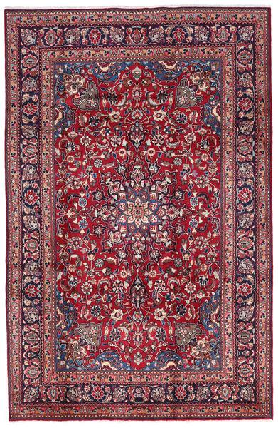 Mashhad Covor 197X300 Orientale Lucrat Manual Mov Închis/Roșu-Închis (Lână, Persia/Iran)