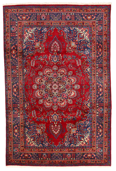 Mashhad Covor 194X300 Orientale Lucrat Manual Roșu-Închis/Mov Închis (Lână, Persia/Iran)