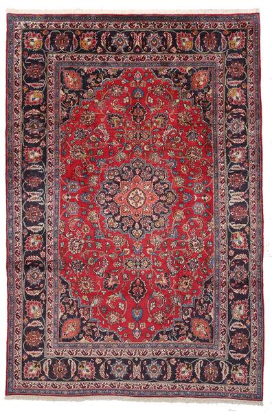 Mashhad Covor 195X292 Orientale Lucrat Manual Mov Închis/Roşu (Lână, Persia/Iran)