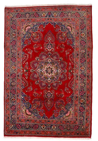 Mashhad Covor 195X293 Orientale Lucrat Manual Ruginiu/Roșu-Închis/Mov Închis (Lână, Persia/Iran)