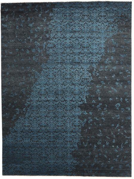 Damask Indo Covor 300X400 Modern Lucrat Manual Albastru Închis/Gri Închis Mare (Lână/Bambus Mătase, India)