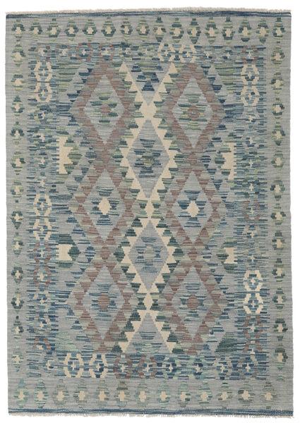 Chilim Afghan Old Style Covor 123X173 Orientale Lucrate De Mână Gri Închis/Lumina Verde/Gri Deschis (Lână, Afganistan)