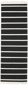 Dorri Stripe - Negru/White Covor 80X250 Modern Lucrate De Mână Negru/Bej-Crem (Lână, India)