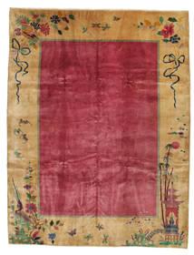 China Antic: Art Deco 1920 Covor 275X360 Orientale Lucrat Manual Maro Deschis/Roşu/Roșu-Închis Mare (Lână, China)