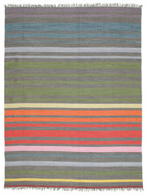 Rainbow Stripe - Gri Covor 250X300 Modern Lucrate De Mână Gri Închis/Verde Oliv Mare (Bumbac, India)