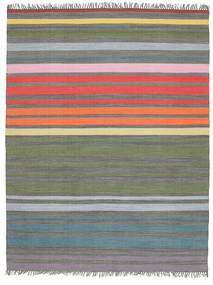 Rainbow Stripe - Gri Covor 200X250 Modern Lucrate De Mână Gri Deschis/Verde Oliv (Bumbac, India)
