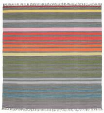 Rainbow Stripe - Gri Covor 200X200 Modern Lucrate De Mână Pătrat Gri Închis/Gri Deschis (Bumbac, India)