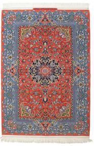 Isfahan Urzeală De Mătase Semnat: Haghighi Covor 150X220 Orientale Lucrat Manual Gri Închis/Roșu-Închis (Lână/Mătase, Persia/Iran)