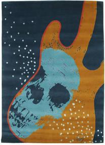 From Obscure Rythms Covor 155X220 Modern Lucrat Manual Albastru Închis/Albastru Turcoaz (Lână, India)