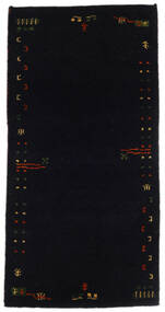 Gabbeh Indo Covor 71X141 Modern Lucrat Manual Negru (Lână, India)