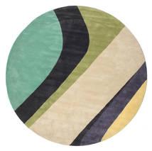 Dynamic Handtufted - Mint Covor Ø 300 Modern Rotund Bej/Gri Închis/Verde Pastel Mare (Lână, India)