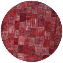 Patchwork Covor Ø 402 Modern Lucrat Manual Rotund Roșu-Închis/Violet Deschis Mare (Lână, Turcia)