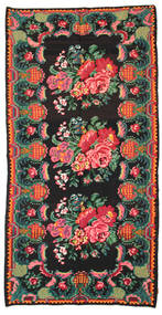 Chilim Rose Moldavia Covor 186X360 Orientale Lucrate De Mână Negru/Întuneric Turquoise (Lână, Republica Moldova)