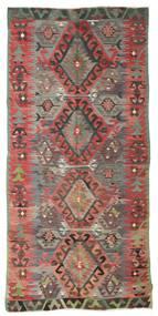 Chilim Semi-Antic Turcia Covor 153X325 Orientale Lucrate De Mână Roșu-Închis/Gri Închis (Lână, Turcia)